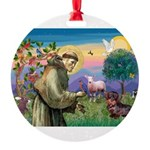 St Francis Doxie Round Ornament
