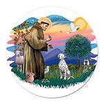 St Francis #2/ Dalmatian Round Car Magnet