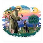 St.Francis #2/ Dobie (cropped Square Car Magnet 3&