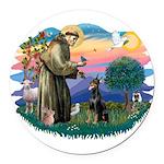 St.Francis #2/ Dobie (cropped Round Car Magnet