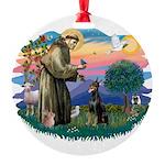 St.Francis #2/ Dobie (cropped Round Ornament