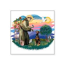 "St Francis #2/ Doberman Square Sticker 3"" x 3"""
