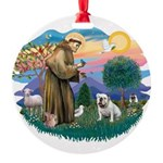 St.Francis #2/ Eng Bull (W #1 Round Ornament