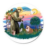 St.Francis #2/ Eng Bull (W-Br Round Car Magnet