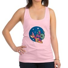 alien riding space board copy.jpg Racerback Tank T