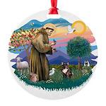 St.Francis #2/ Fr Bulldog (br Round Ornament