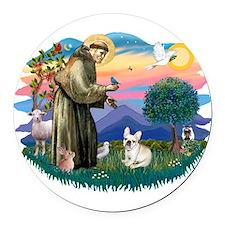 St.Francis #2/ Fr Bulldog (f) Round Car Magnet