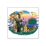 "St.Francis #2/ Ger Shep (W) Square Sticker 3"""
