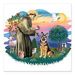St.Francis #2/ Ger Shep (W) Square Car Magnet 3&qu