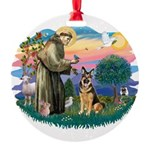 St.Francis #2/ Ger Shep (W) Round Ornament