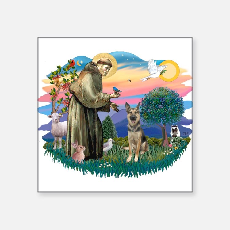 St.Francis #2/ German Shep (P Square Sticker 3&quo