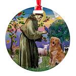Saint Francis' Golden Round Ornament