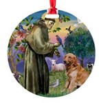 St Francis & Golden Round Ornament