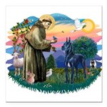 St.Francis #2/ Great Dane (bl Square Car Magnet 3&