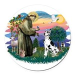St.Francis #2/ Great Dane (H) Round Car Magnet