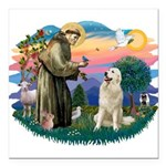 St.Francis #2/ Pyrenees #1 Square Car Magnet 3&quo