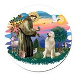 St.Francis #2/ Pyrenees #1 Round Car Magnet