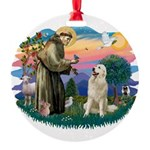 St.Francis #2/ Pyrenees #1 Round Ornament