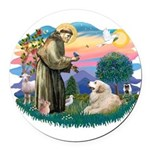 St.Francis #2/ Pyrenees#2 Round Car Magnet