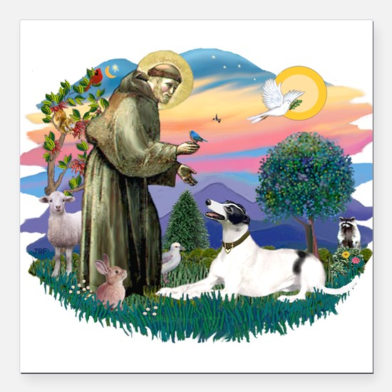 St.Francis #2/ Greyhound Square Car Magnet 3""