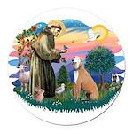 St.Francis #2/ Greyhound Round Car Magnet