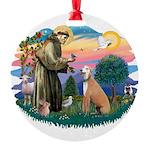 St.Francis #2/ Greyhound Round Ornament