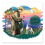 St.Francis #2/ Italian Greyho Square Car Magnet 3&