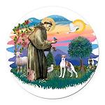St.Francis #2/ Italian Greyho Round Car Magnet
