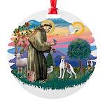 St.Francis #2/ Italian Greyho Round Ornament