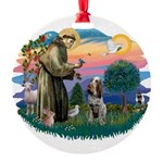 St Francis #2/ Spinone Round Ornament