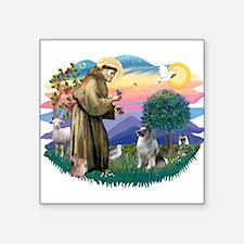 "St Francis #2 / Keeshond Square Sticker 3"" x 3"""