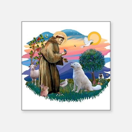 "St Francis #2/ Kuvacz Square Sticker 3"" x 3"""