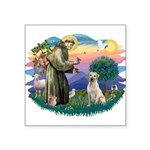 "St.Francis #2/ Yellow Lab Square Sticker 3"" x"