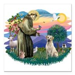 St.Francis #2/ Yellow Lab Square Car Magnet 3&quot