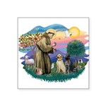 St.Francis #2/ Two Labradors Square Sticker 3&quot