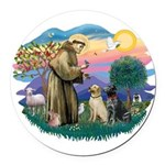 St.Francis #2/ Two Labradors Round Car Magnet