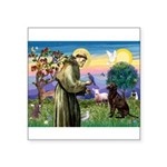 St Francis Chocolate Lab Square Sticker 3