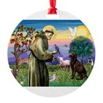 St Francis Chocolate Lab Round Ornament