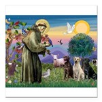 St. Francis/3 Labradors Square Car Magnet 3