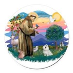 St.Francis #2/ Maltese #7 Round Car Magnet