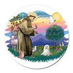 St.Francis #2 / Maltese Round Car Magnet