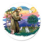 St.Francis #2/ Pomeranian (s& Round Car Magnet