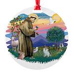 St.Francis #2/ Pomeranian (s& Round Ornament