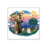 St.Francis #2/ Pomeranian (f) Square Sticker 3&quo