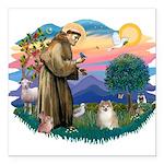 St.Francis #2/ Pomeranian (f) Square Car Magnet 3&
