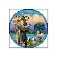 """St Francis / Poodle (parti) Square Sticker 3"""""""