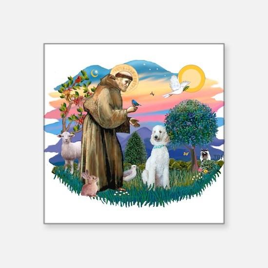 St.Francis #2/ Poodle (Std-Hv Square Sticker 3&quo