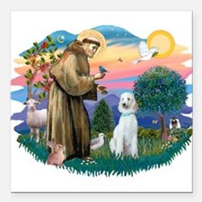 St.Francis #2/ Poodle (Std-Hv Square Car Magnet 3&