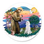 St.Francis #2/ Poodle (Std W) Round Car Magnet