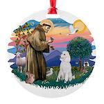 St.Francis #2/ Poodle (Std W) Round Ornament